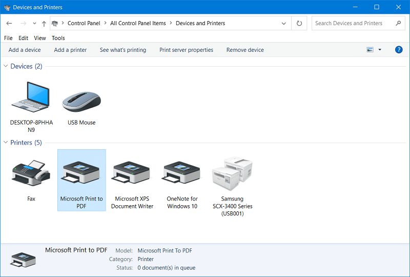 The Devices and Printers window on Windows 10
