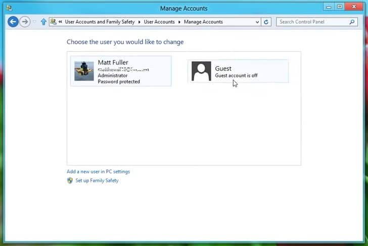The Guest user account on Windows 8