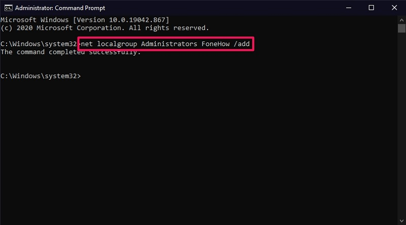 Change the account type from Standard to Administrator on Windows 10