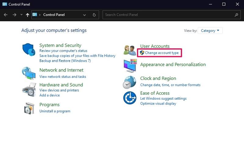 Change account type on Windows 10 control panel