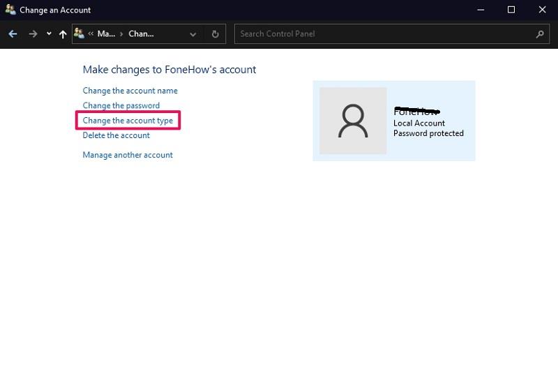 Change the account type option on Windows 10 control panel