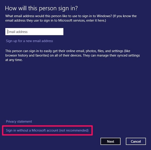 Sign in without a Microsoft account on Netplwiz Windows 10
