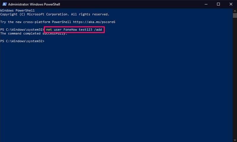 Type the command in PowerShell to create a new user on Windows 10
