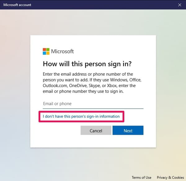 I don't have this person's sign-in information on Windows 10