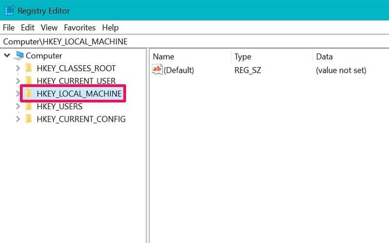 HKEY_LOCAL_MACHINE folder on Registry Editor