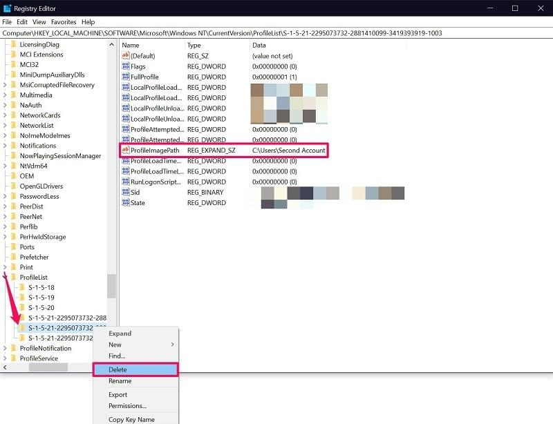 Delete user profile from Registry Editor on Windows 10