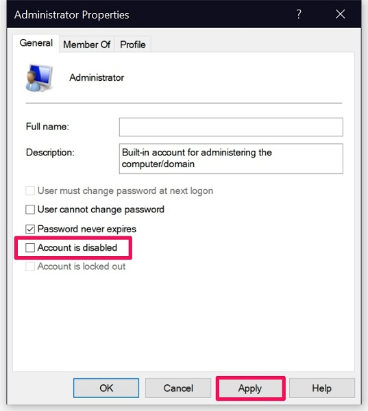 Account is disabled for built-in administrator account on Windows 10