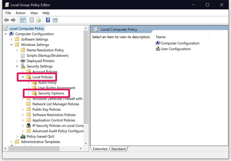 Security options from local security policy on Windows 10