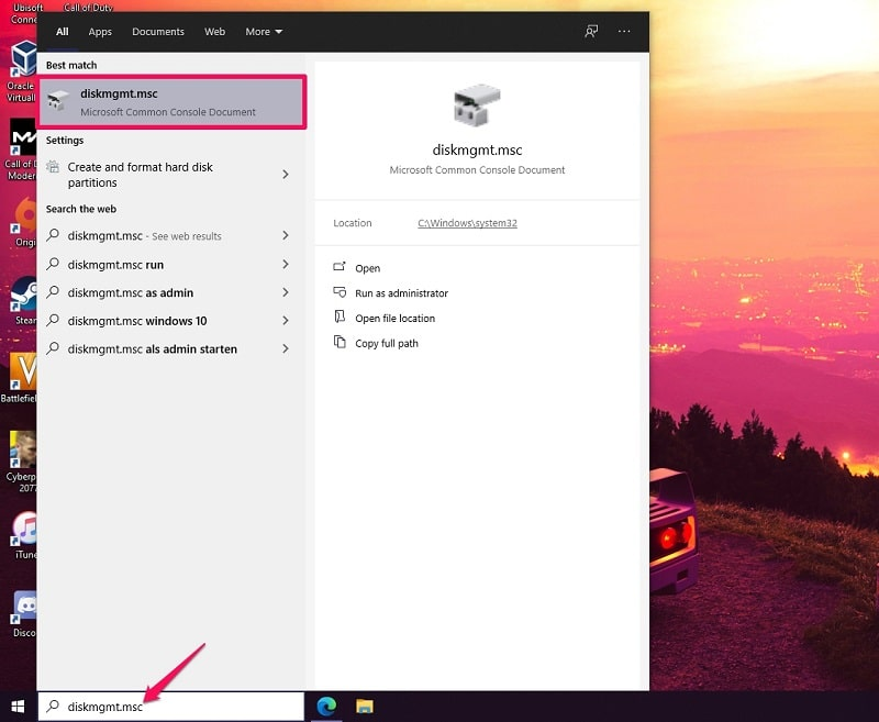 Search diskmgmt.msc to open disk management on Windows 10