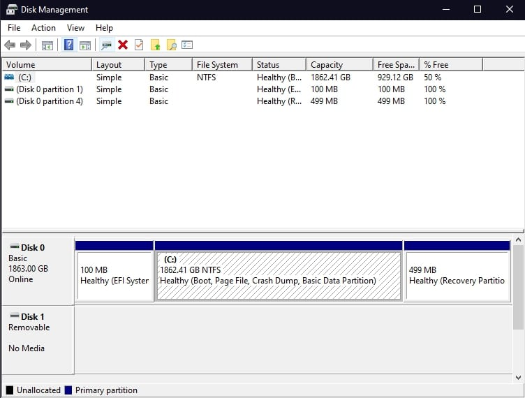 Disk Management on Windows 10