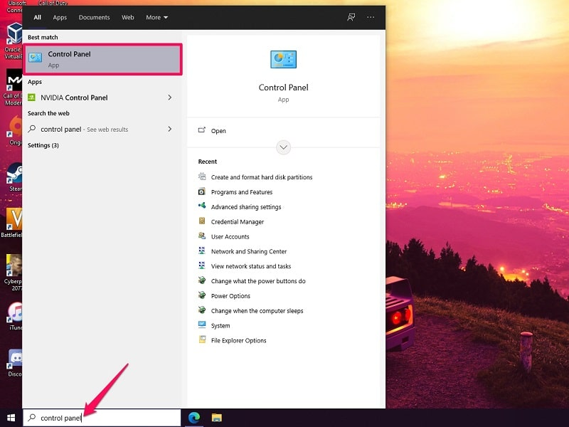 Open Disk Management in Windows 10 from Control Panel