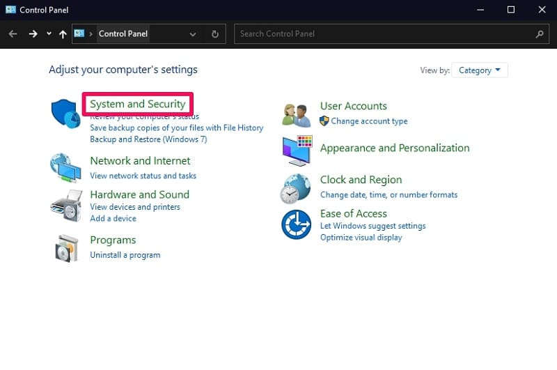 Click System and Security on Windows 10 Control Panel