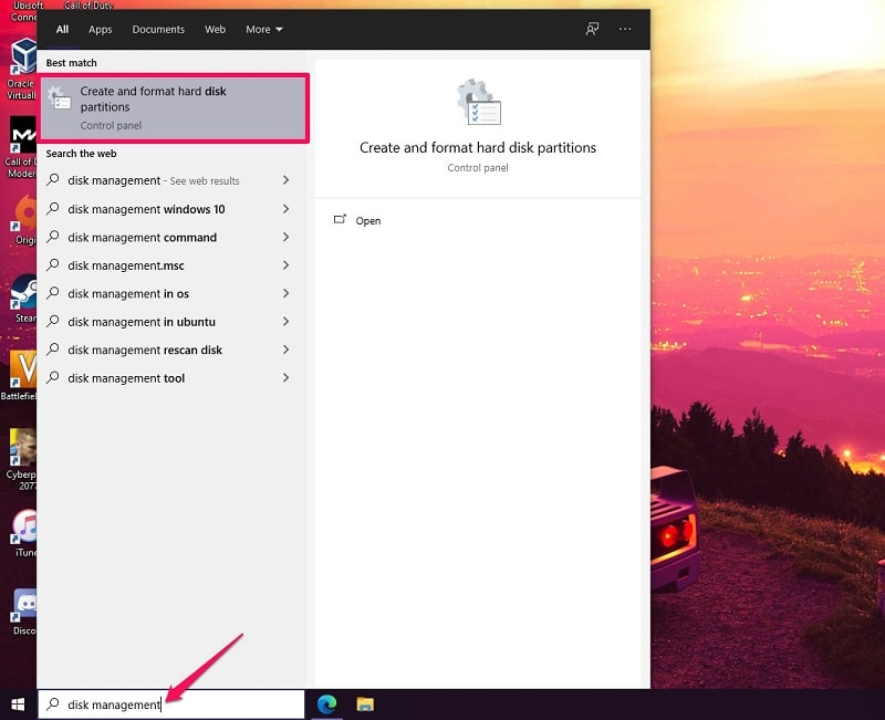 Search Create and format hard disk partitions on Windows 10