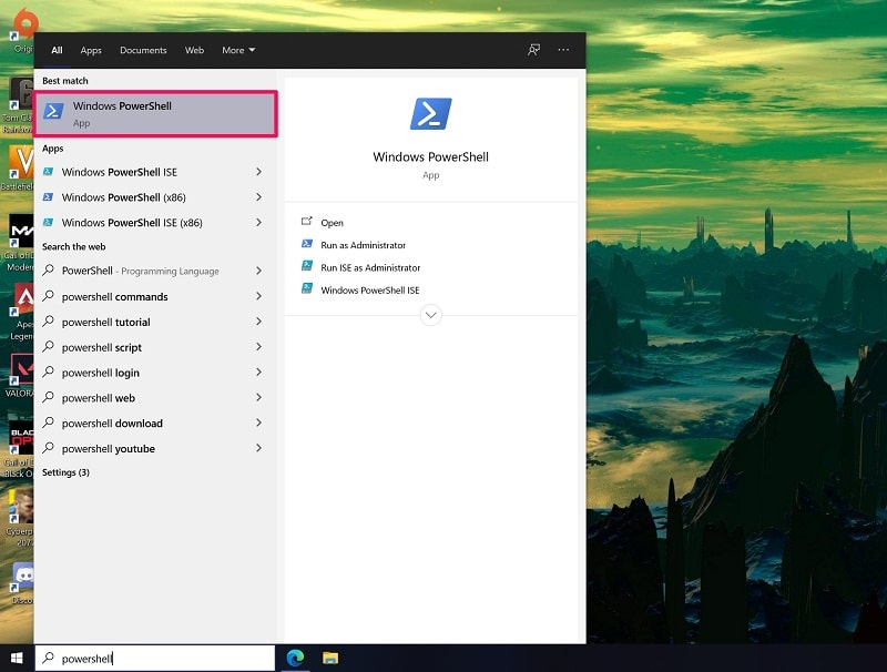 Open Network and Sharing Center Windows 10 from Powershell