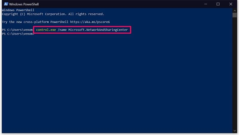 Run the code on Powershell to Open Network and Sharing Center