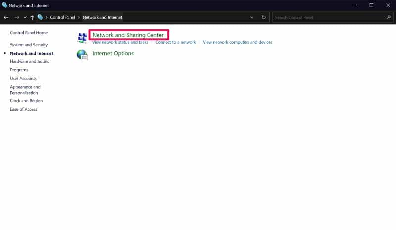 Network and sharing center on Windows 10 control panel