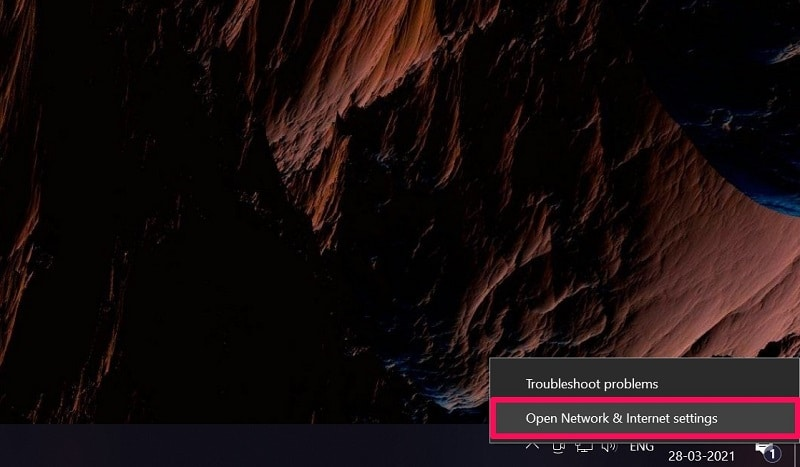 Open network & internet settings from internet icon Windows 10