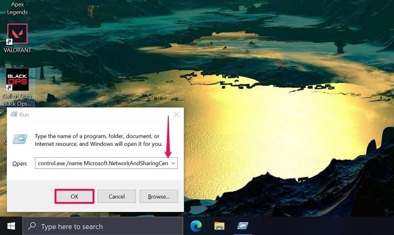 Open Network and Sharing Center Windows 10 via the Run window