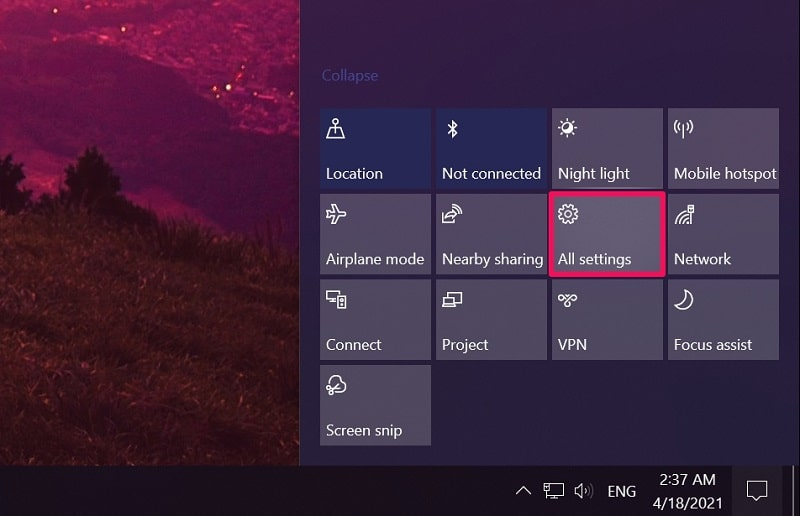 All settings on action center