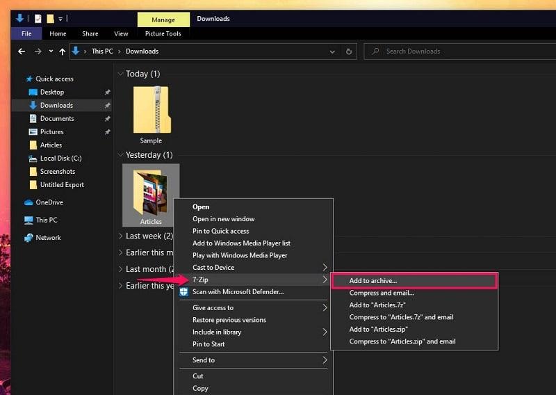 Password Protect A ZIP File using 7-ZIP in Windows 10