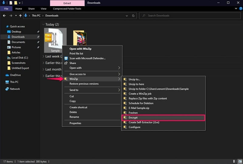 Password Protect A ZIP File using WinZip in Windows 10