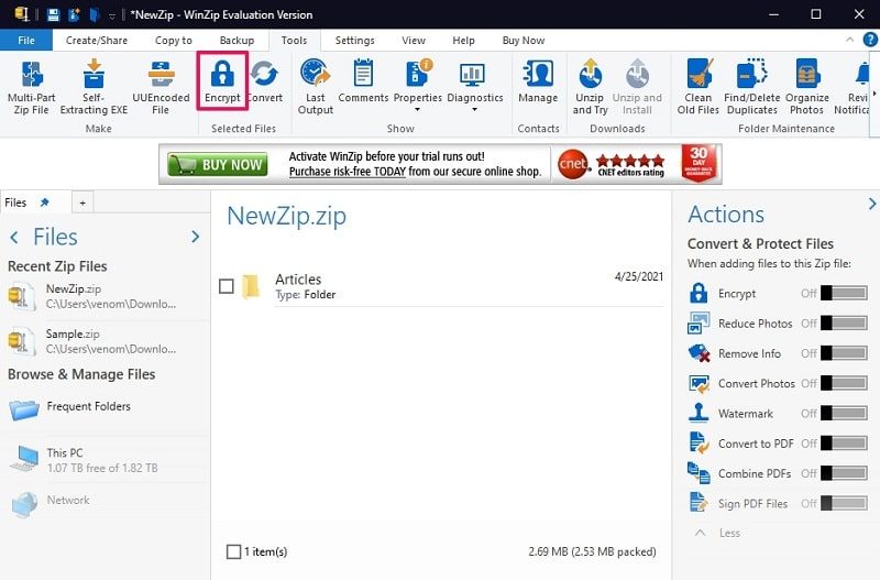 Encrypt a ZIP file with WinZIP