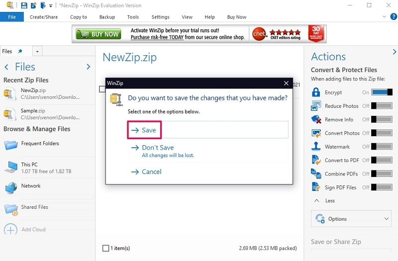 Save the password-protected ZIP file with WinZIP