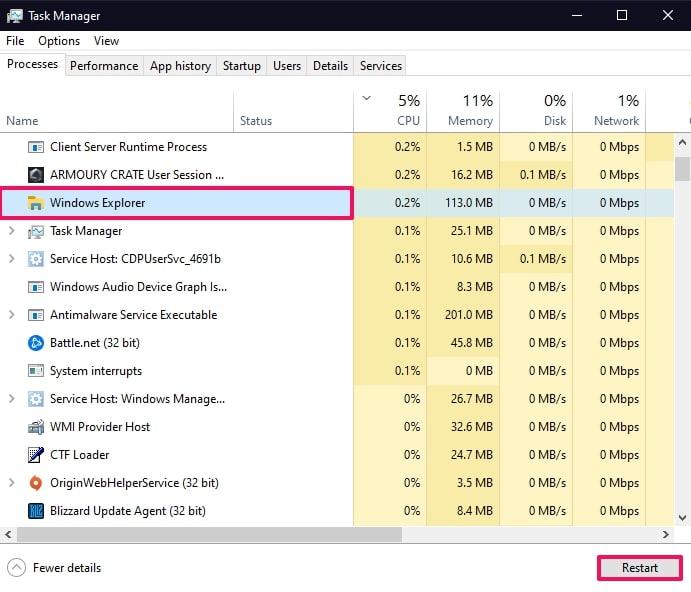Select Windows Explorer on Task Manager and click restart