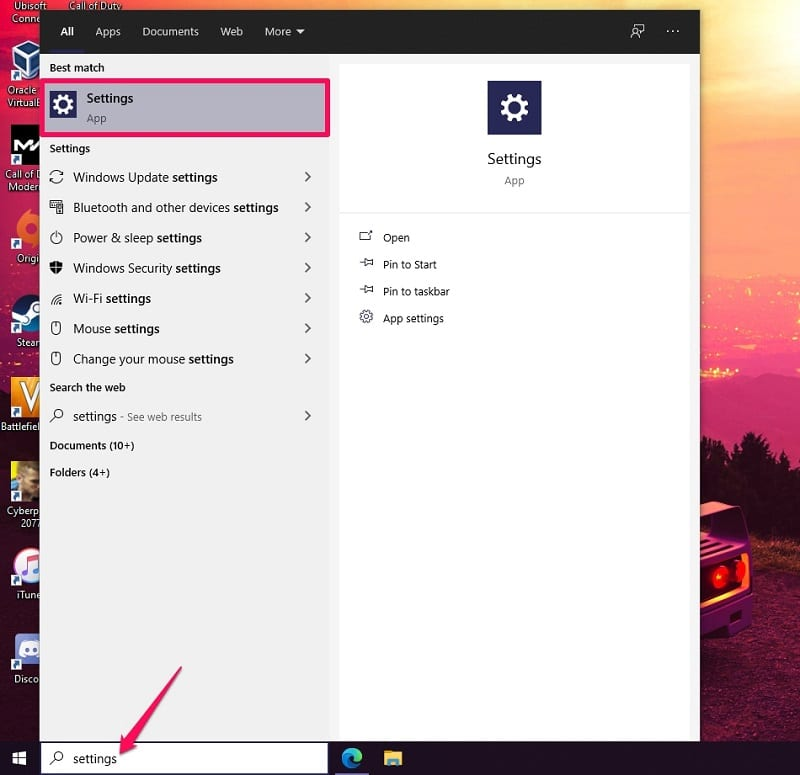 Open settings on Windows 10 to sign out of Microsoft account