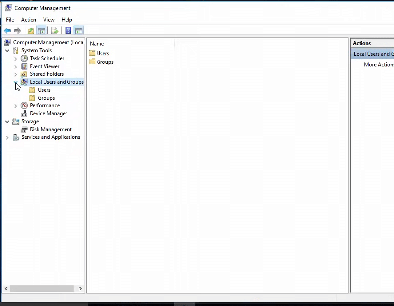 The Computer Management window and Local Users snap-in