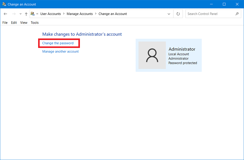 Make changes to Administrator's account window