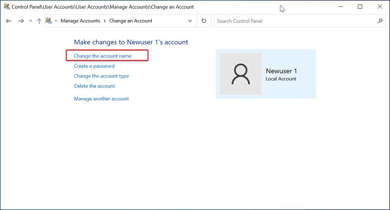 Change the account name on Windows 10