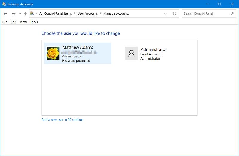 The Manage Accounts window on Windows 10