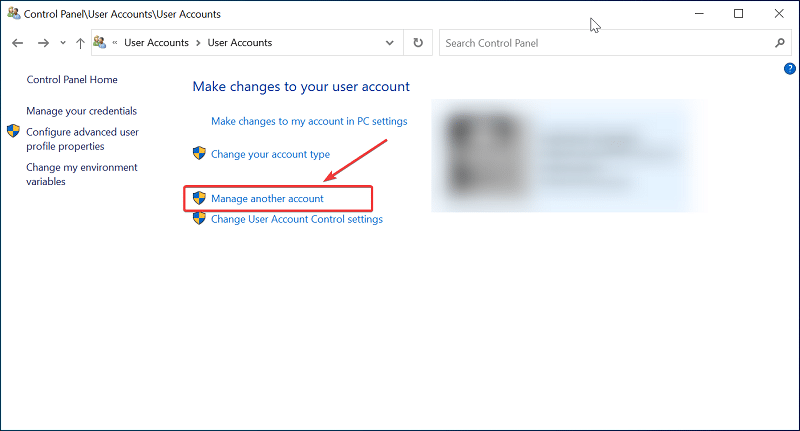 Manage another accout on Windows 10