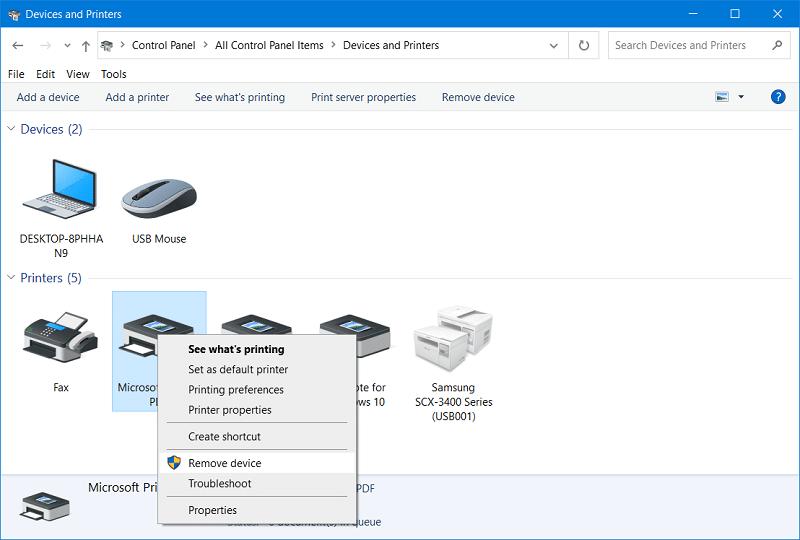 Fix Print to PDF Windows 10 Not Working via The Remove device option