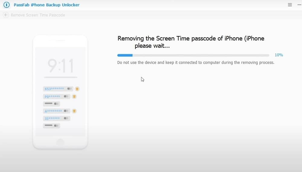 Removing the screen time passcode of iPhone on PassFab software