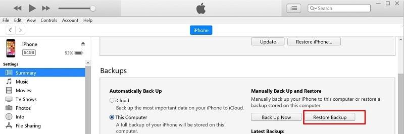 Restore backup on iTunes