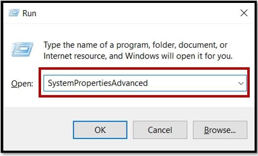 Open Advanced System Settings in Windows 10 via Run Window