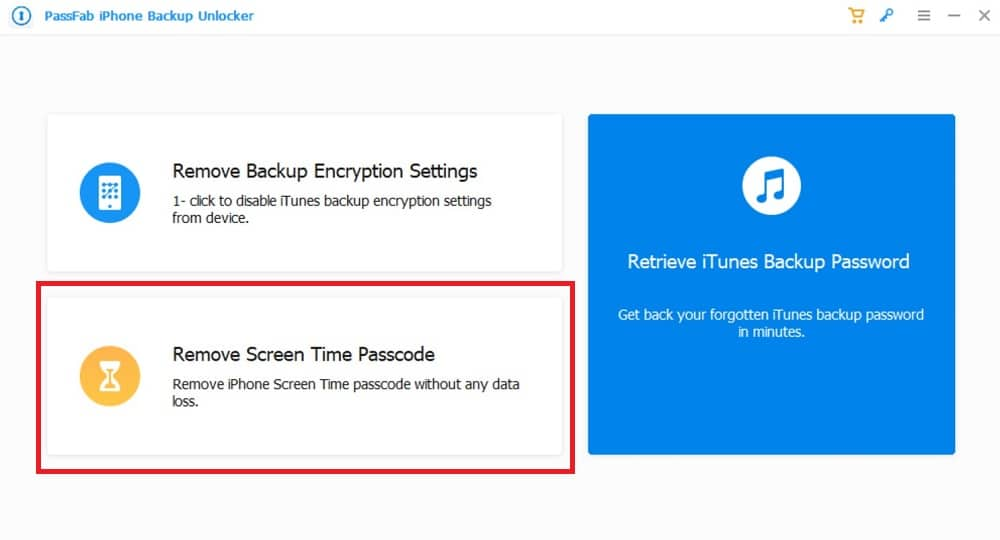 Select remove screen time passcode on PassFab software