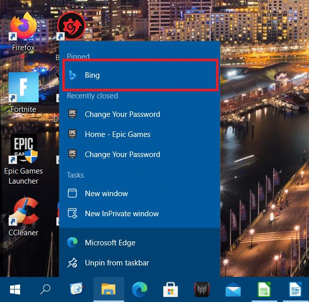 Shortcut on an Edge jump list Windows 10