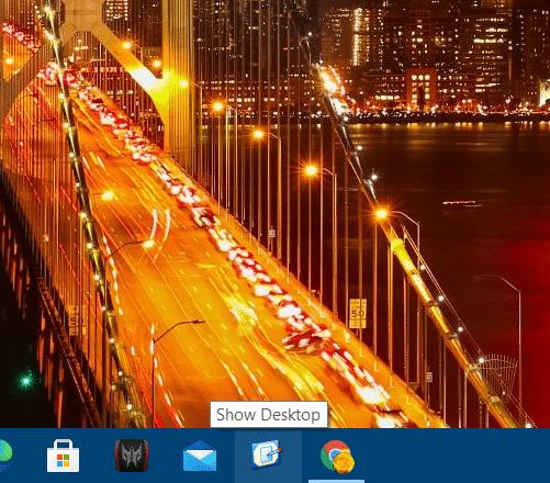The Show Desktop icon on Windows 10 taskbar