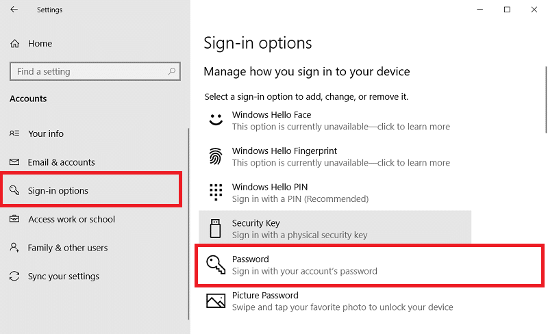 Sign-in options on Windows 10
