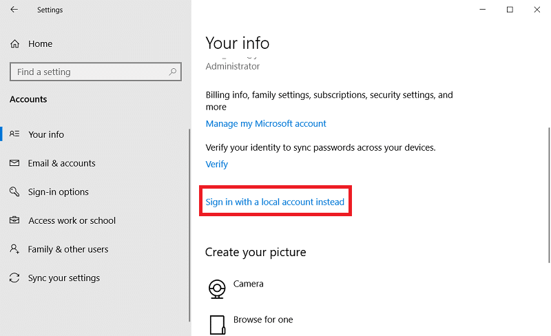 The Sign in with a local account instead option on Windows 10