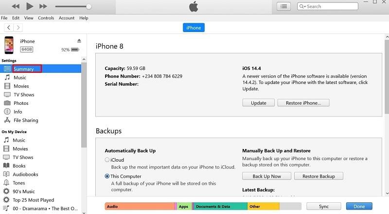 Summary page on iTunes