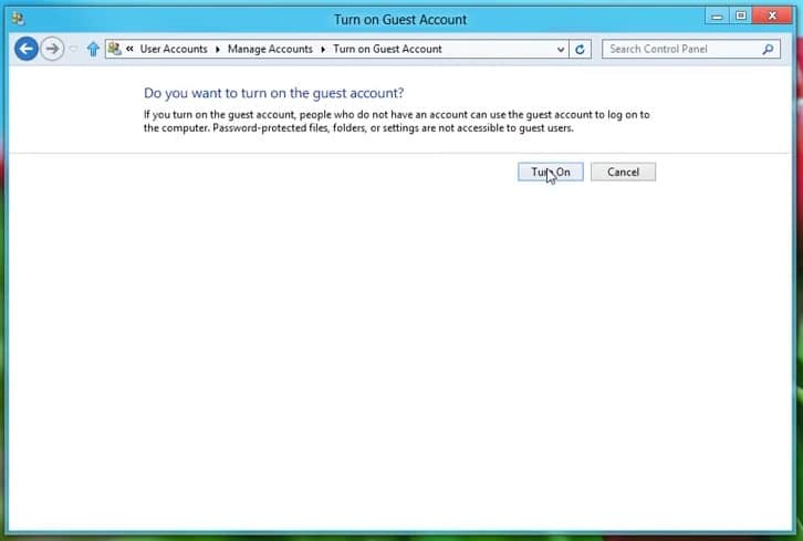 Turn On guest account on Windows 8