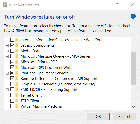 Fix Print to PDF Windows 10 Not Working via The Windows Features window
