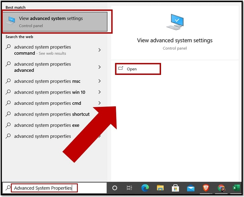 Open Advanced System Settings in Windows 10 via Searching