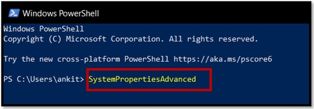 Type command to Open Advanced System Settings in Windows 10