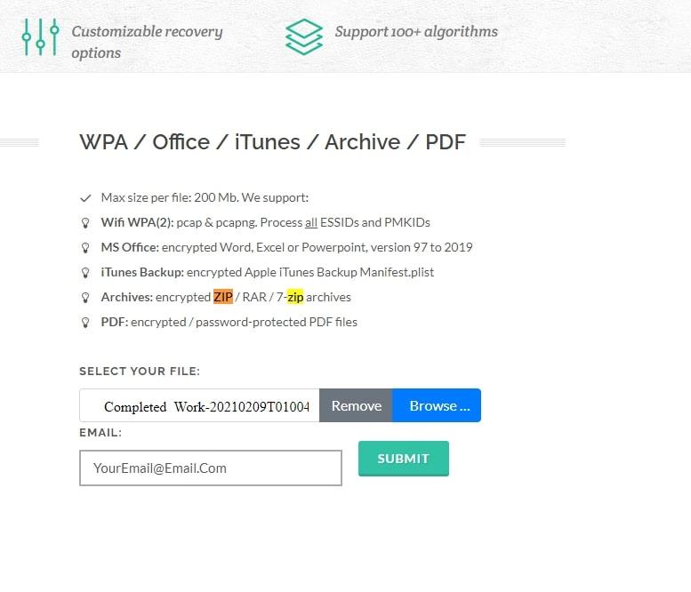 Upload the encrypted ZIP file online