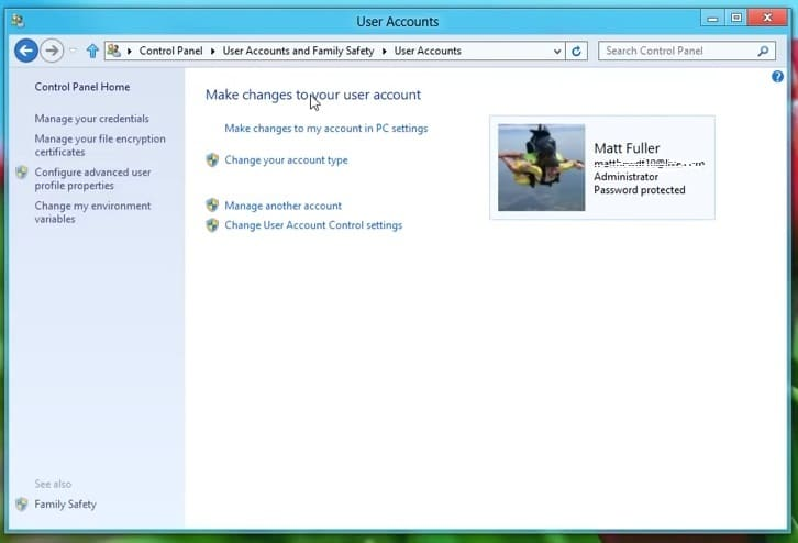 The User Accounts applet on Windows 8
